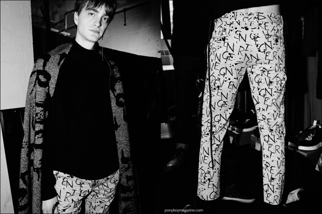 Model Robert Laby photographed backstage in graphic Kenneth Ning F/W16 menswear. Photography by Alexander Thompson for Ponyboy magazine.