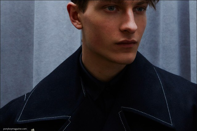 Male model Dmitry Brylev photographed backstage at Kenneth Ning F/W16 menswear show by Alexander Thompson for Ponyboy magazine.