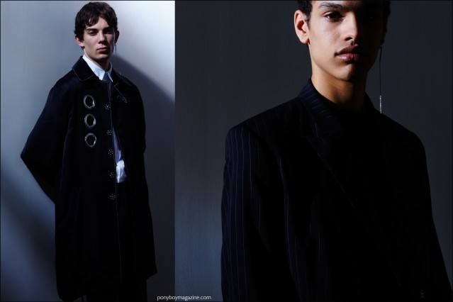 Male models Matthieu Gregoire and Noa Thomas photographed at the Kenneth Ning F/W16 menswear presentation by Alexander Thompson for Ponyboy magazine.