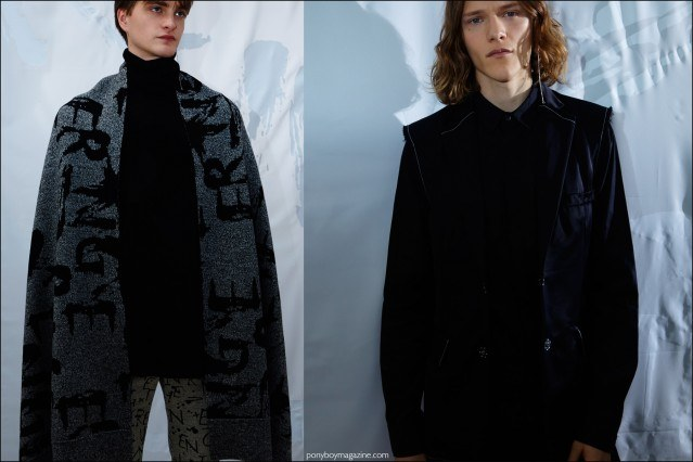 Male models Robert Laby and Ryan Keating photographed at the Kenneth Ning F/W16 menswear presentation. Photography by Alexander Thompson for Ponyboy magazine.