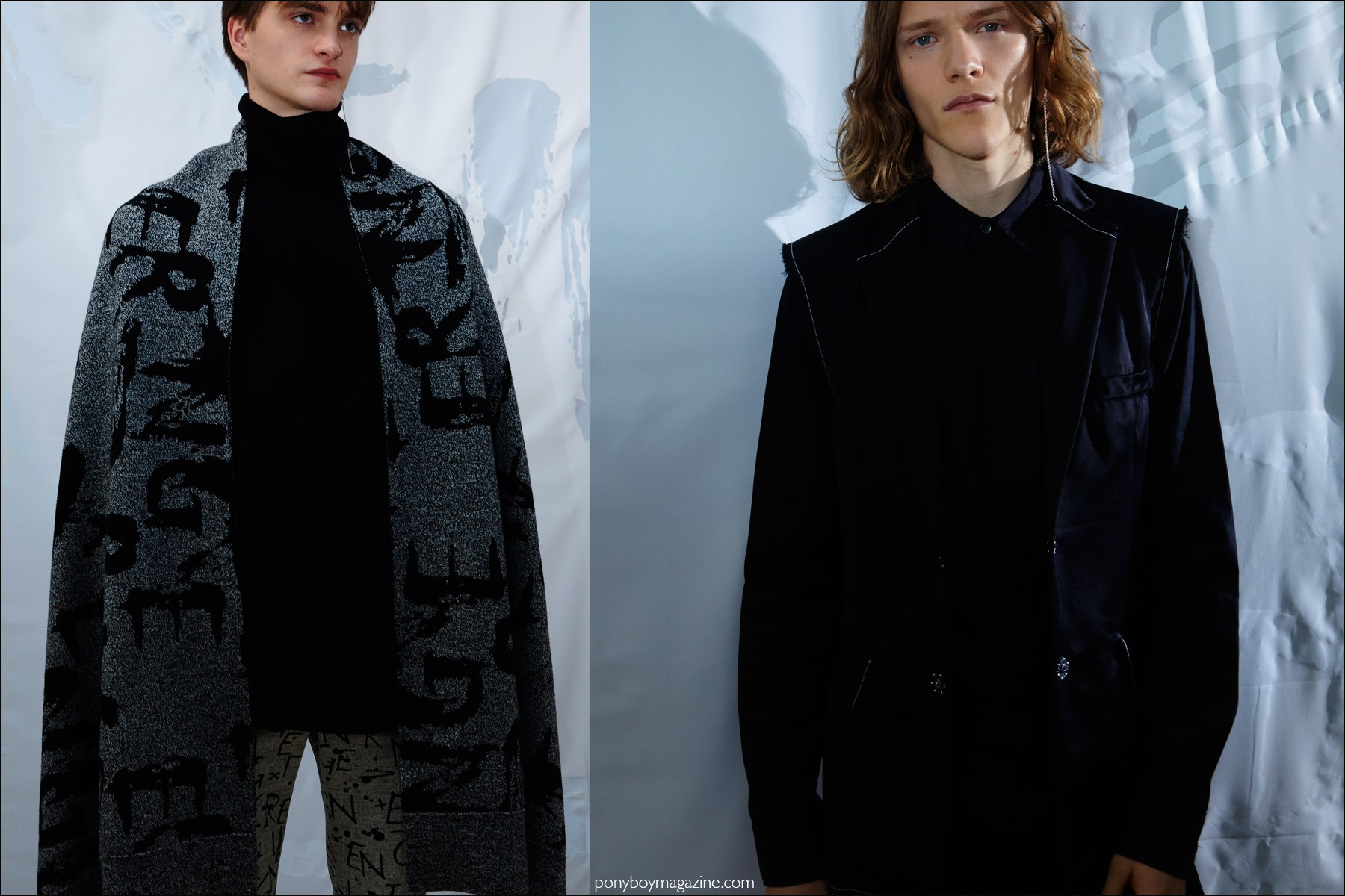 Male models Robert Laby and Ryan Keating photographed at the Kenneth Ning F/W16 menswear presentation. Photography by Alexander Thompson for Ponyboy magazine NY.