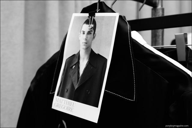 Model card of Matthieu Gregoire photographed backstage at Kenneth Ning F/W16 menswear show. Photography by Alexander Thompson for Ponyboy magazine.