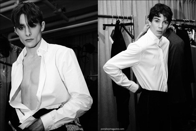 Models Maxence Danet-Fauvel and Matthieu Gregoire photographed getting dressed, backstage at Kenneth Ning F/W16 menswear show. Photography by Alexander Thompson for Ponyboy magazine.