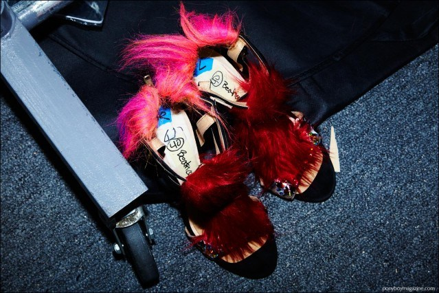 Furry high heels photographed backstage at Libertine F/W16 show. Photography by Alexander Thompson for Ponyboy magazine.