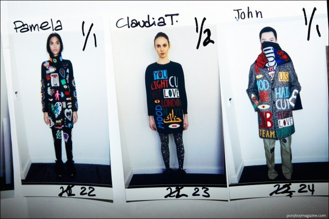 Model's board with clothing looks, backstage at Libertine for Fall/Winter 2016. Photography by Alexander Thompson for Ponyboy magazine.