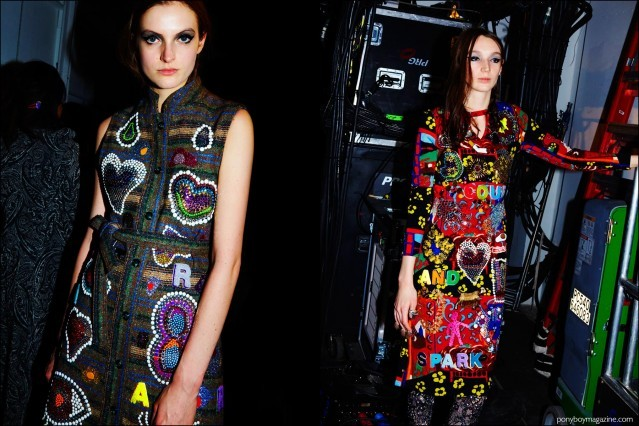 Models wear colorful embellished dresses backstage at the Libertine Fall/Winter 2016 show. Photographs by Alexander Thompson for Ponyboy magazine.