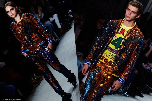 Model Caian Maroni walks for Libertine F/W16 show during New York Fashion Week. Photography by Alexander Thompson for Ponyboy magazine.