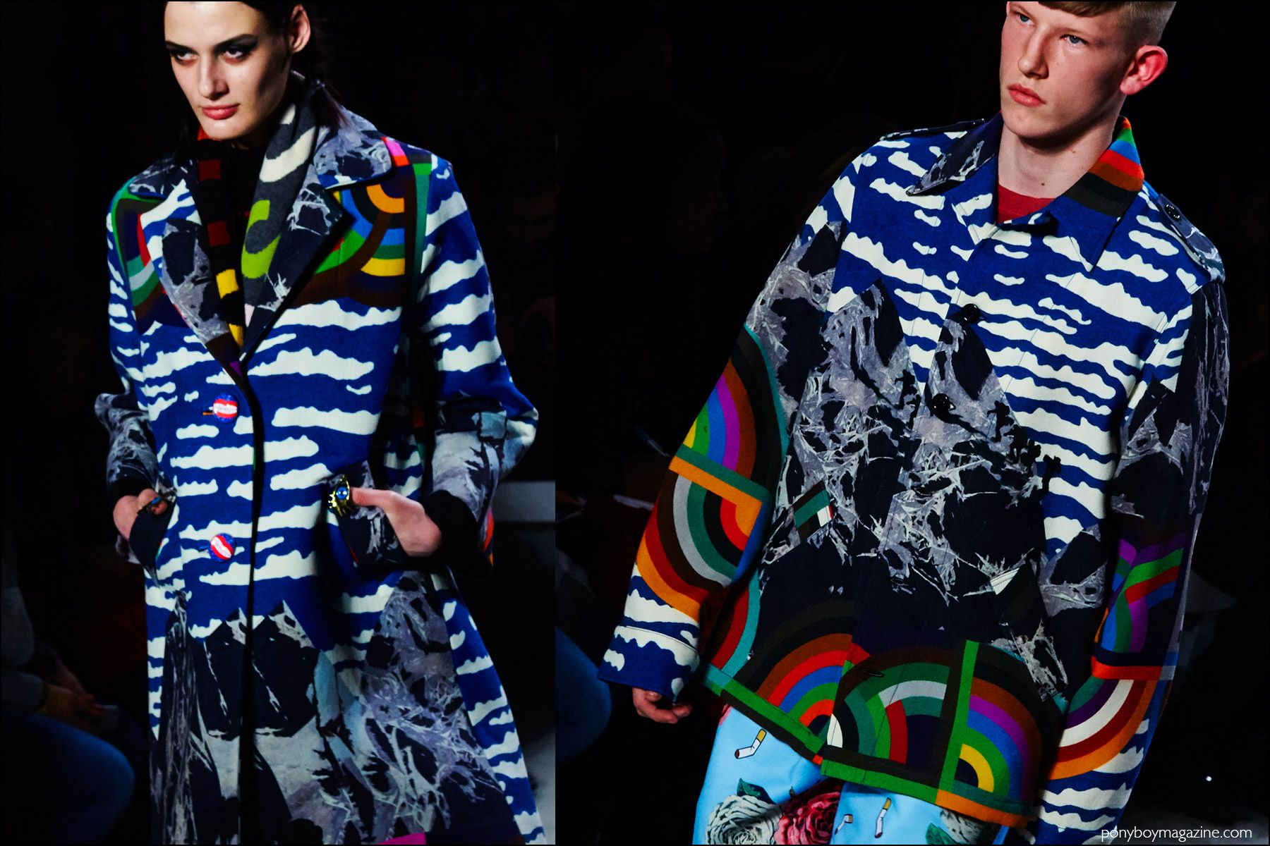 Vivid colorful prints on the runway at Libertine for Fall/Winter 2016. Photography by Alexander Thompson for Ponyboy magazine NY.