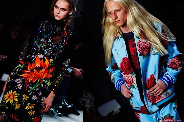 Floral prints on the Fall/Winter 2016 runway at Libertine. Photography by Alexander Thompson for Ponyboy magazine.