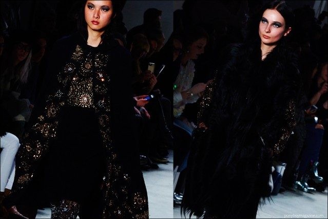 Dramatic embellished clothing on the runway at the Libertine F/W16 show. Photography by Alexander Thompson for Ponyboy magazine.