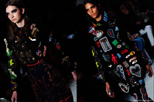 Colorful embellished clothing on the runway at the Libertine F/W16 show. Photography by Alexander Thompson for Ponyboy magazine.