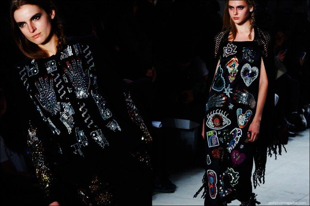 Embellished womenswear on the catwalk at Libertine F/W16 show. Photography by Alexander Thompson for Ponyboy magazine.