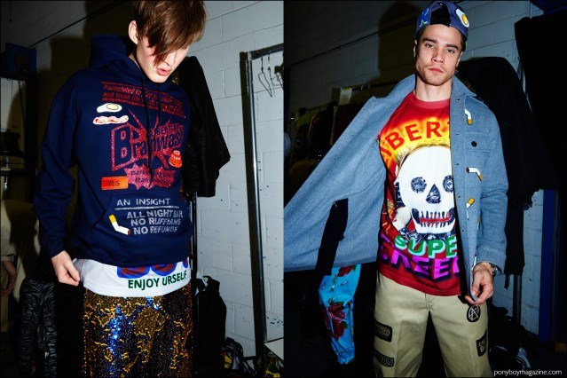 Male models dressing backstage at Libertine F/W16 show. Photography by Alexander Thompson for Ponyboy magazine.