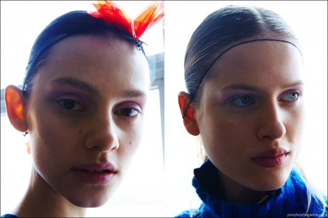 Models snapped backstage for Milly Fall/Winter 2016. Photographed by Alexander Thompson for Ponyboy magazine.