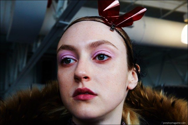Dramatic eyeshadow photographed backstage at Milly F/W16 womenswear show. Photography by Alexander Thompson for Ponyboy magazine.