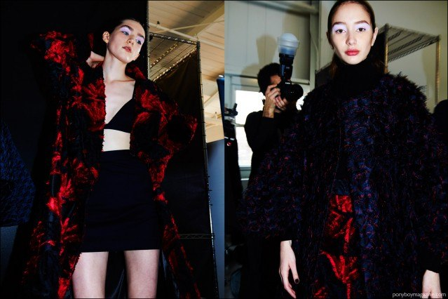 Danielle Dorchester snapped backstage at Milly F/W16 womenswear show by Alexander Thompson for Ponyboy magazine.