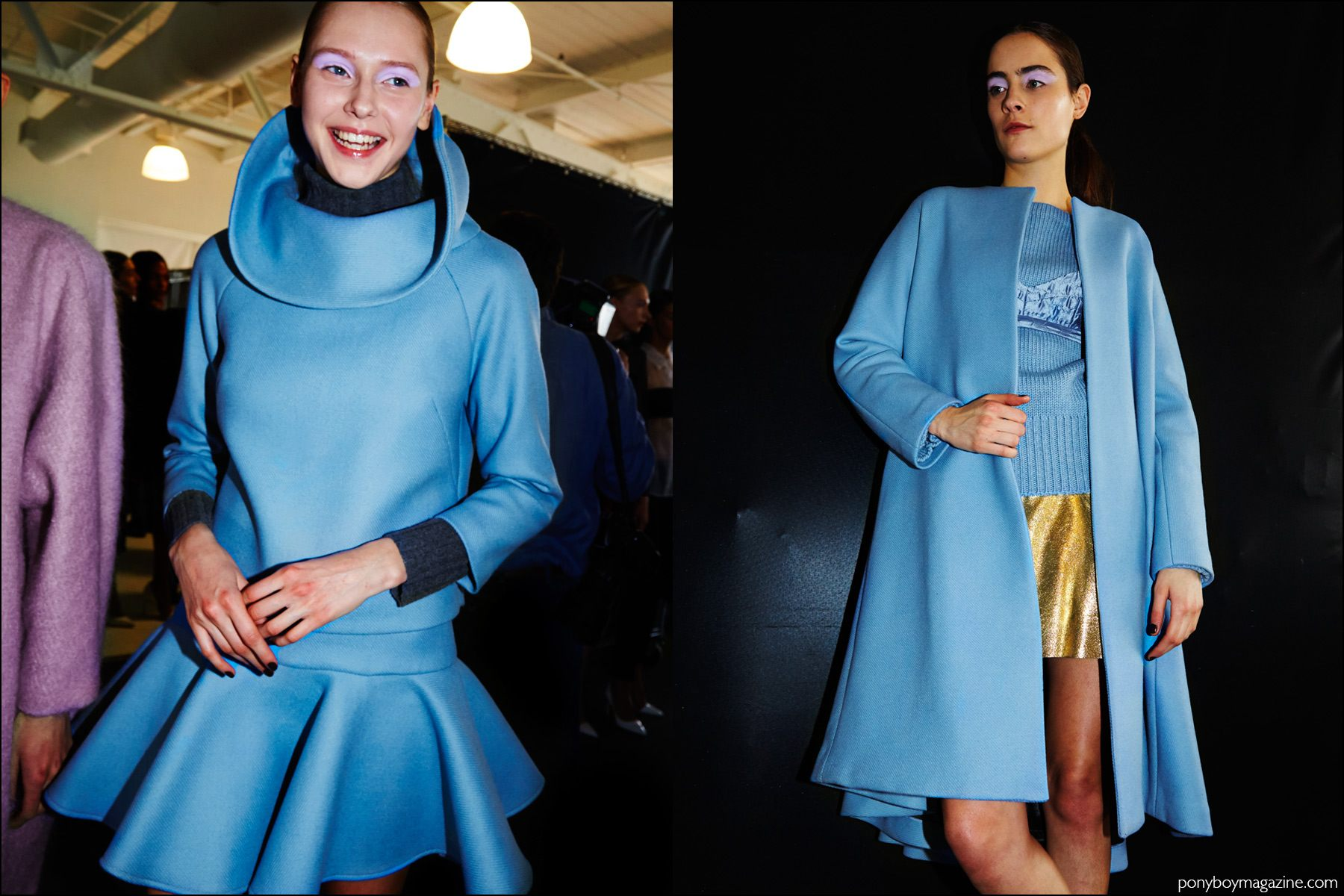 Baby blue Fall/Winter womenswear looks for 2016, snapped by Alexander Thompson for Ponyboy magazine at the Milly show in New York City.