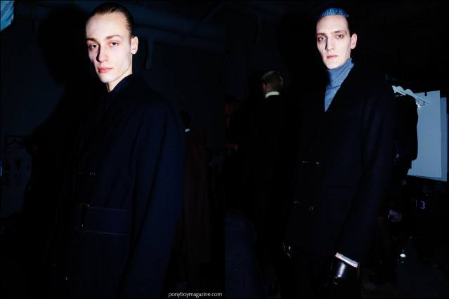 Male model Yannick Abrath photographed exiting the runway, backstage at Robert Geller F/W16 menswear show. Photography by Alexander Thompson for Ponyboy magazine.