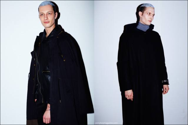 Models Dima Dionesov and Felix Gesnouin photographed backstage at Robert Geller F/W16 menswear show. Photography by Alexander Thompson for Ponyboy magazine.