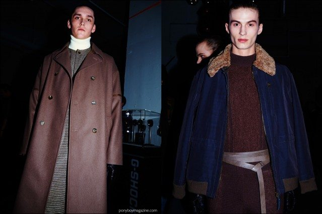 Male models Anders Hayward and Zach Troost photographed backstage in Robert Geller F/W16 menswear. Photography by Alexander Thompson for Ponyboy magazine.
