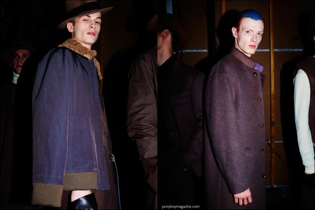 Models Zach Troost and Linus Wordemann photographed backstage at Robert Geller F/W15 menswear show. Photography by Alexander Thompson for Ponyboy magazine.