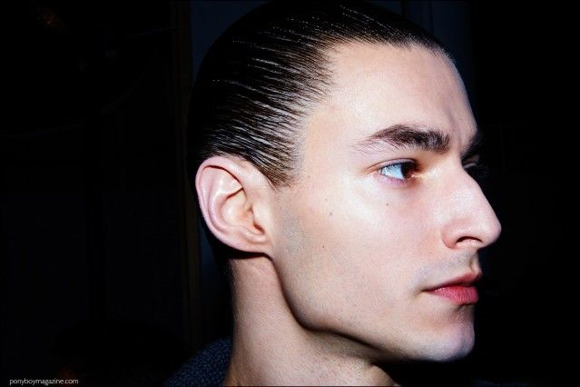 Slicked back hairstyles at Robert Geller F/W16 menswear show. Photography by Alexander Thompson for Ponyboy magazine.