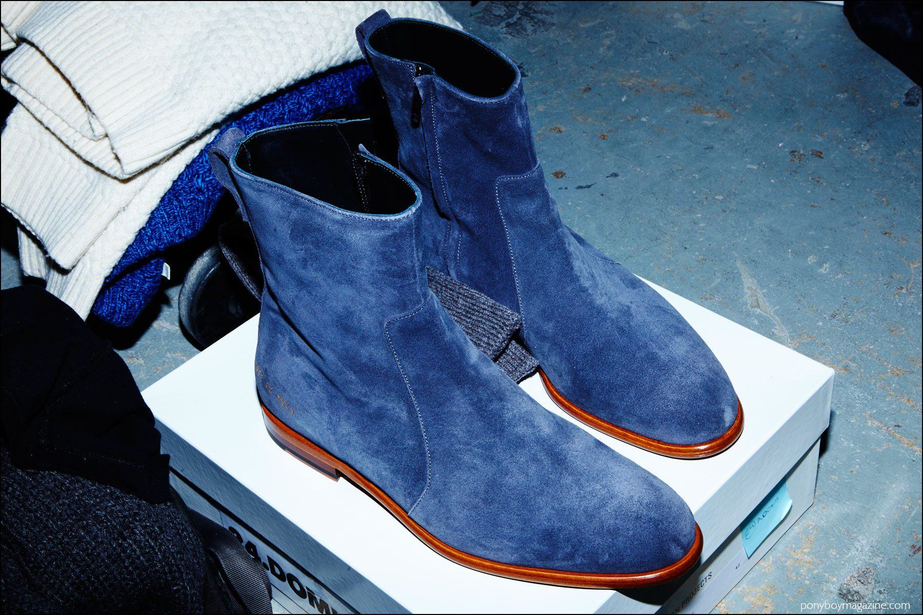 Suede Chelsea Boots by Common Objects, backstage at Robert Geller F/W16 menswear show. Photography by Alexander Thompson for Ponyboy magazine NY.
