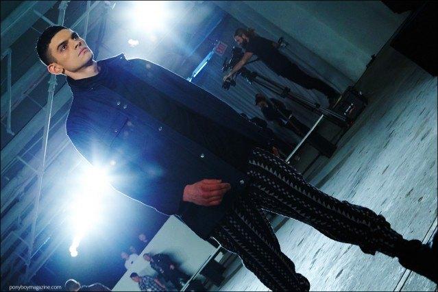 Male model Daniel McSweeney walks the runway for Rochambeau F/W16 menswear. Photography by Alexander Thompson for Ponyboy magazine.
