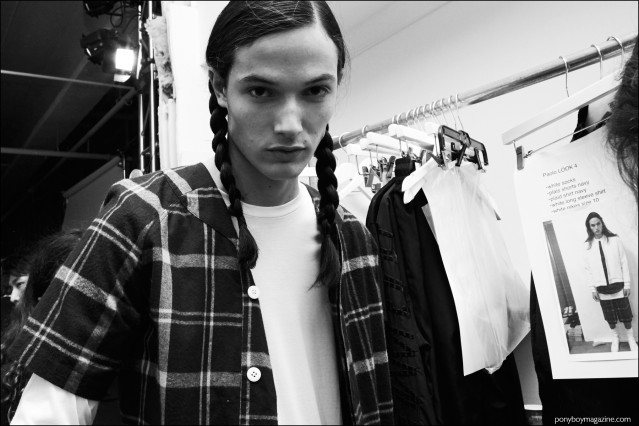 Male model Paolo snapped backstage at Rochambeau F/W16 menswear show. Photography by Alexander Thompson for Ponyboy magazine.