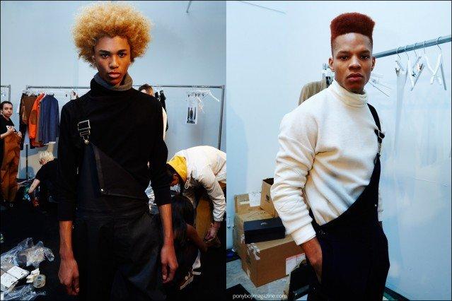 Model Michael Lockley snapped backstage at Rochambeau F/W16 menswear show by Alexander Thompson for Ponyboy magazine.