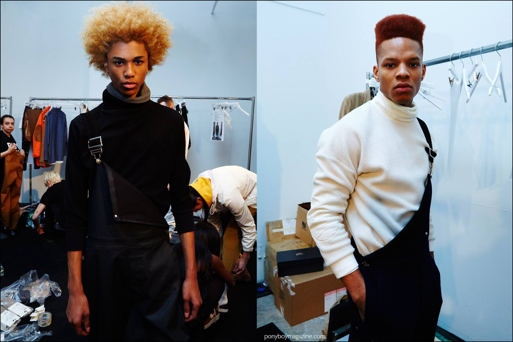 Model Michael Lockley snapped backstage at Rochambeau F/W16 menswear show by Alexander Thompson for Ponyboy magazine NY.