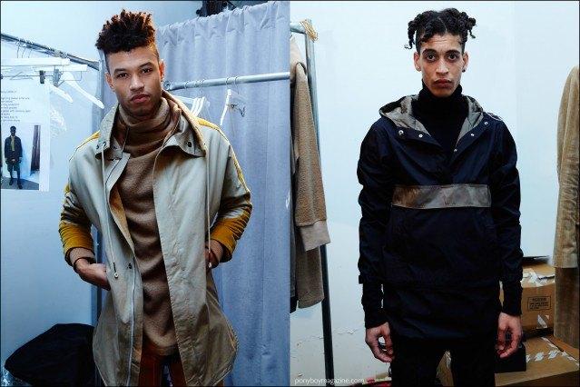 Dreadlocked male models photographed backstage in Rochambeau F/W16 menswear. Photography by Alexander Thompson for Ponyboy magazine.
