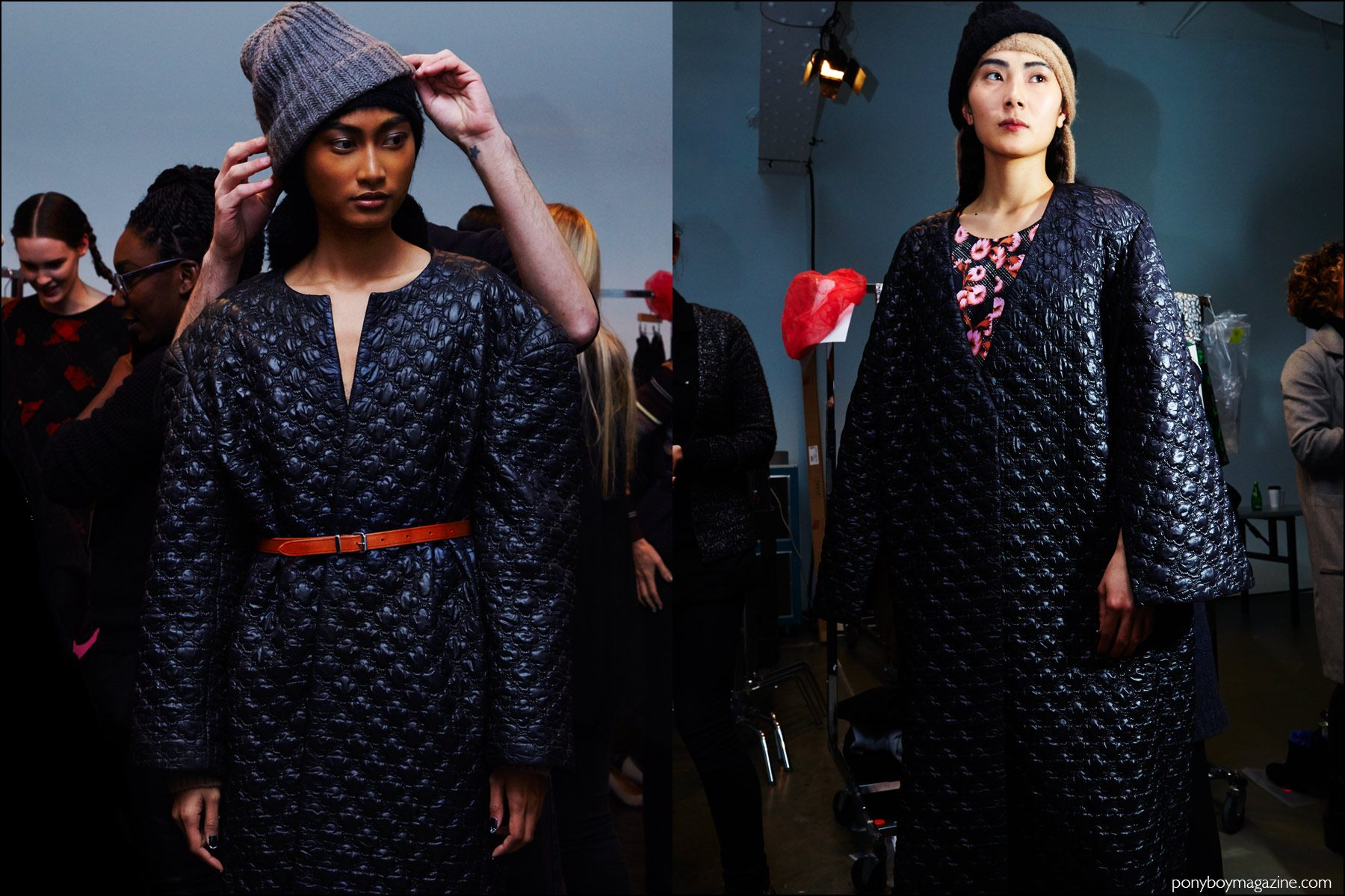 Quilted rounded shouldered coats photographed backstage at A Détacher Fall 2016 womenswear show. Photography by Alexander Thompson for Ponyboy magazine NY.