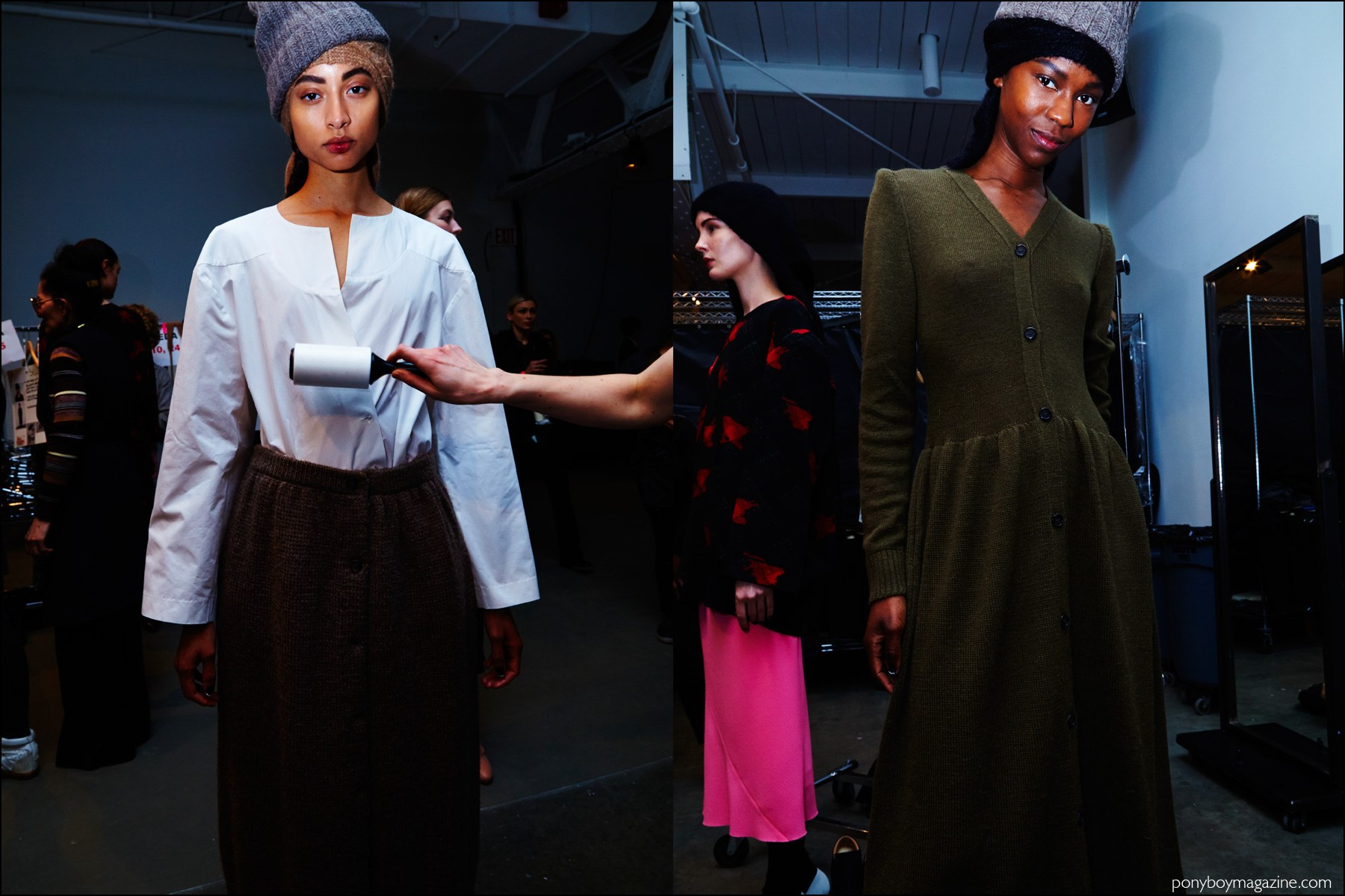 Models snapped backstage during New York Fashion Week at A Détacher Fall 2016 womenswear show. Photography by Alexander Thompson for Ponyboy magazine NY.