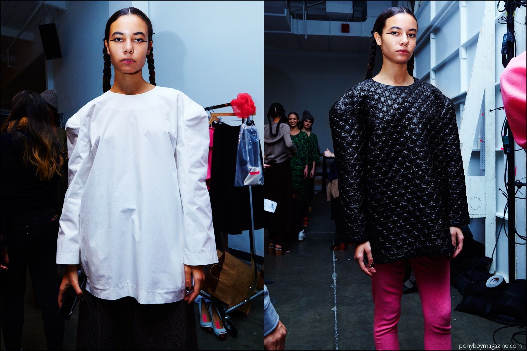 Oversized tops snapped backstage at A Détacher Fall 2016 womenswear show. Photography by Alexander Thompson for Ponyboy magazine NY.