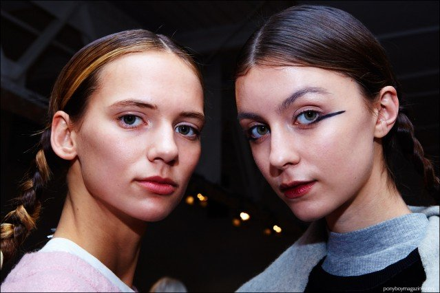 Female models snapped backstage at A Détacher Fall 2016 womenswear show. Photography by Alexander Thompson for Ponyboy magazine.