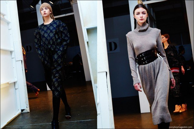Models photographed exiting the runway at A Détacher Fall 2016 womenswear show. Photography by Alexander Thompson for Ponyboy magazine.