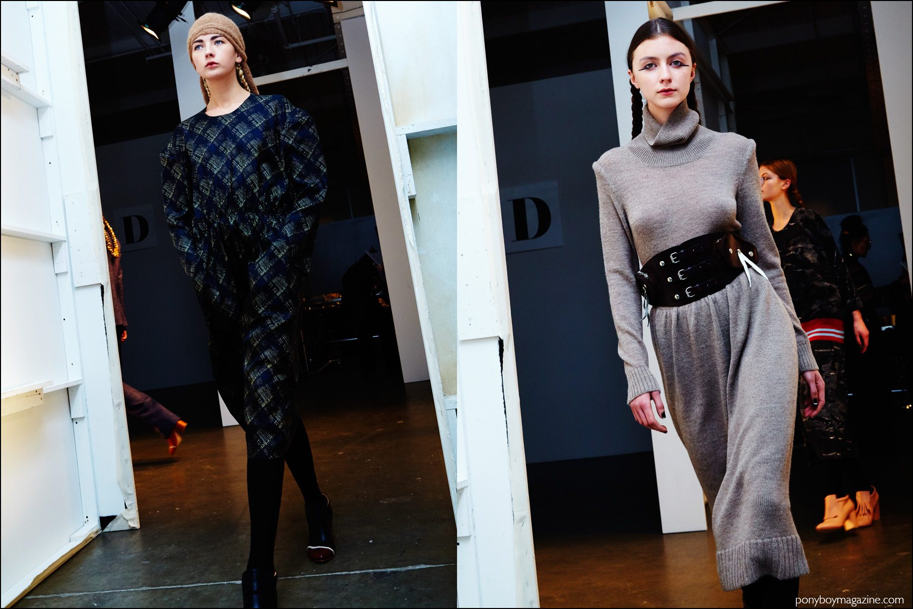 Models photographed exiting the runway at A Détacher Fall 2016 womenswear show. Photography by Alexander Thompson for Ponyboy magazine NY.