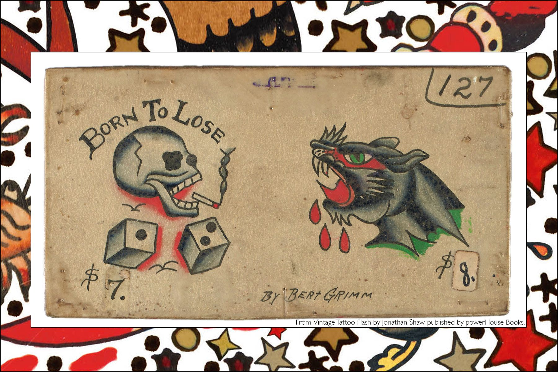 Old school tattoo flash, from the newly released publication, Vintage Tattoo Flash by Jonathan Shaw, from Powerhouse Books. Ponyboy magazine NY.