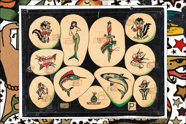 Old tattoo flash from the newly released publication by Powerhouse Books, Vintage Tattoo Flash by Jonathan Shaw. Ponyboy magazine.