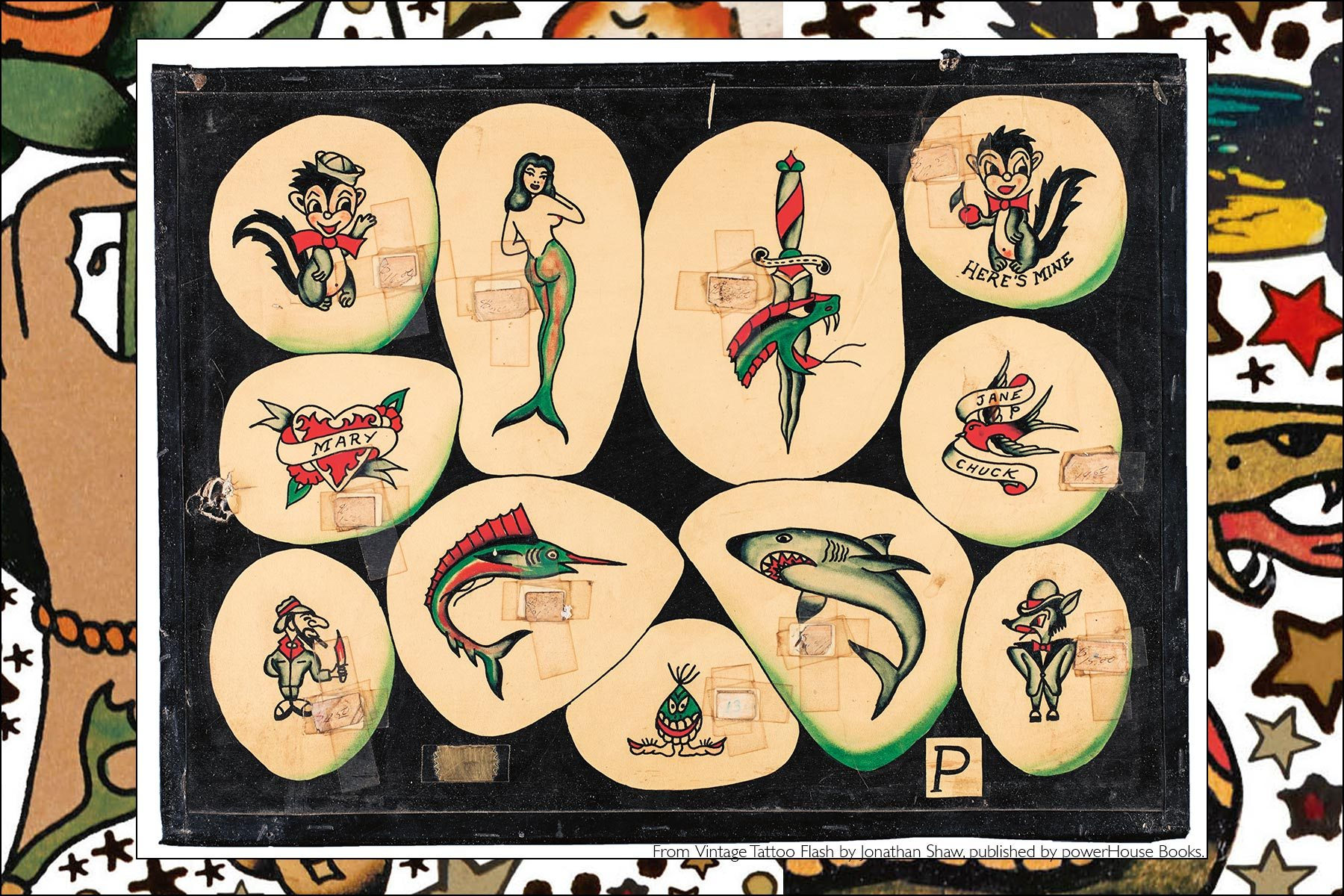 Old tattoo flash from the newly released publication by Powerhouse Books, Vintage Tattoo Flash by Jonathan Shaw. Ponyboy magazine NY.