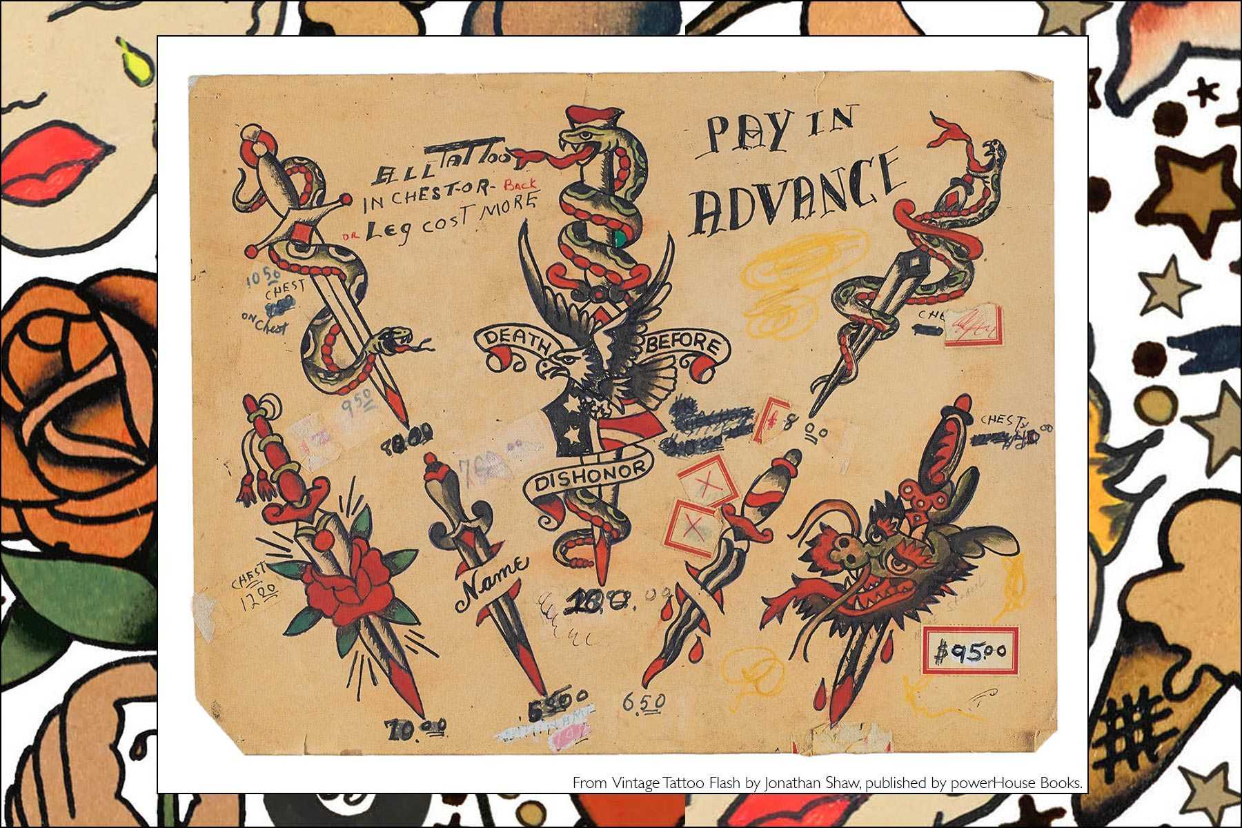 Tattoo flash from the newly released publication by Powerhouse Books, Vintage Tattoo Flash by Jonathan Shaw. Ponyboy magazine NY.