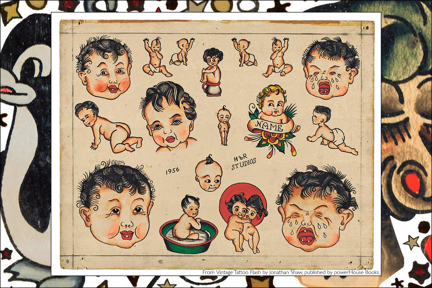 Old school tattoo flash of babies, from the newly released publication, Vintage Tattoo Flash by Jonathan Shaw, from Powerhouse Books. Ponyboy magazine NY.