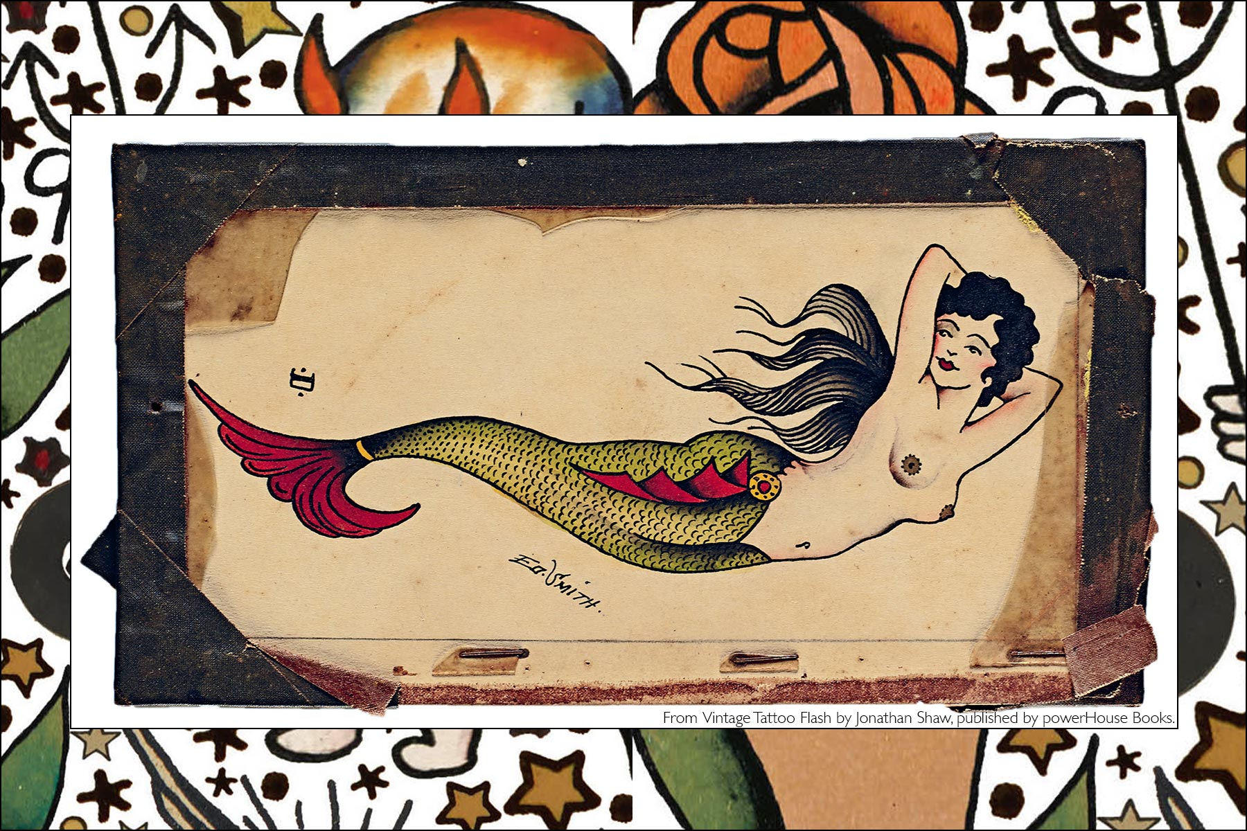 Old school tattoo flash of a mermaid, from the newly released publication, Vintage Tattoo Flash by Jonathan Shaw, from Powerhouse Books. Ponyboy magazine NY.