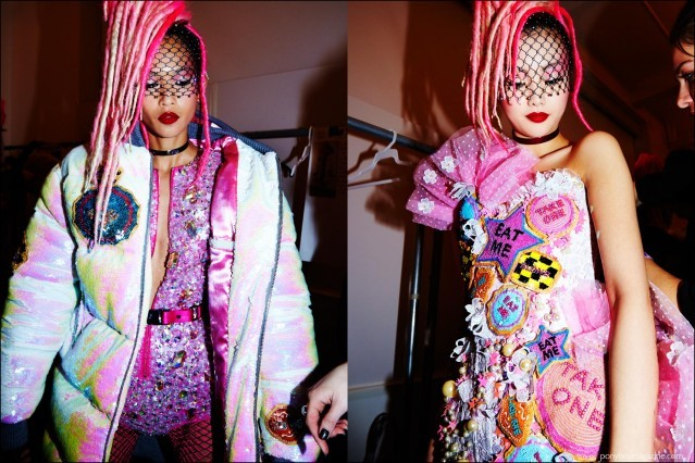 Models photographed in colorful creations, backstage at The Blonds F/W16 womenswear show. Photography by Alexander Thompson for Ponyboy magazine.