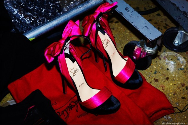 Christian Louboutin bow heels, photographed backstage at The Blonds F/W16 womenswear show by Alexander Thompson for Ponyboy magazine.