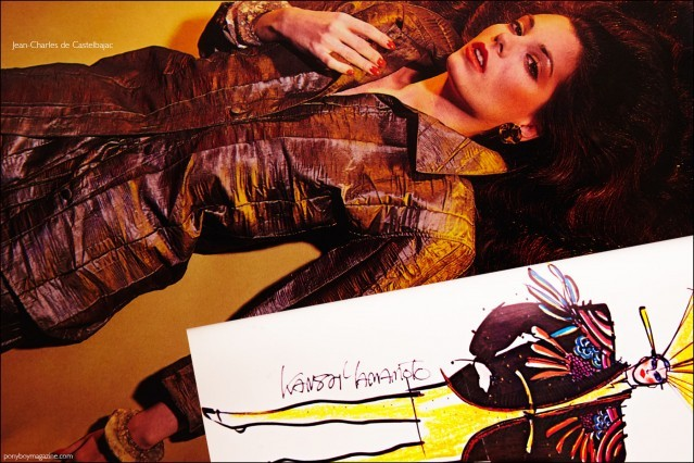 A fashion photograph featuring the design of Jean-Charles de Castelbajac and a fashion sketch by Kansai Yamamoto, featured in the book Fashion: 2001 by Lucille Khornak. Ponyboy magazine.
