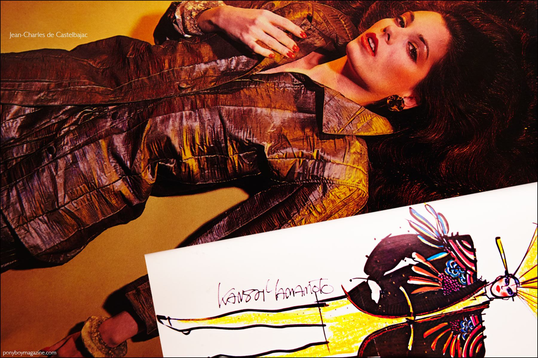 A fashion photograph featuring the design of Jean-Charles de Castelbajac and a fashion sketch by Kansai Yamamoto, featured in the book Fashion: 2001 by Lucille Khornak. Ponyboy magazine NY.