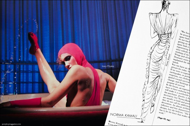 A Issey Miyake design and Norma Kamali sketch that is featured in the book by Lucille Khornak, Fashion: 2001. Ponyboy magazine.