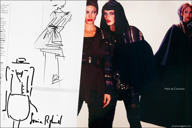 Fashion sketches by Sonia Rykiel and Chanel, featured in the book Fashion: 2001 by Lucille Khornak. Ponyboy magazine.